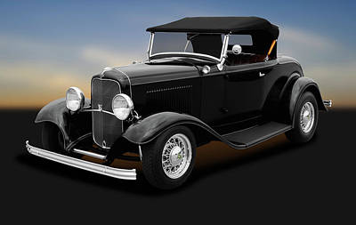 Photograph - 1932 Ford Convertible Coupe Roadster  -  1932fordconvertiblecouperoadster184430 by Frank J Benz