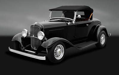 Photograph - 1932 Ford Convertible Coupe Roadster  -  1932fordconvertroadstergray184430 by Frank J Benz