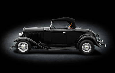 Photograph - 1932 Ford Convertible Coupe Roadster  -  1932fordconvertroadsterspttext184430 by Frank J Benz