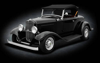 Photograph - 1932 Ford Convertible Coupe Roadster  -  1932fordroadstercvspttext184430 by Frank J Benz