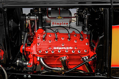 Photograph - 1932 Ford Coupe V8 Supercharged Flathead Engine Detail   -   1932fordv8flathead170318 by Frank J Benz