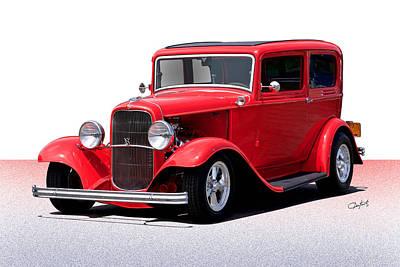 Beer Blueprints - 1932 Ford Full Fender Sedan by Dave Koontz