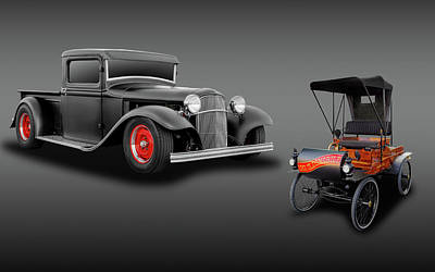 Photograph - 1932 Ford Pickup Truck And 1901 Oldsmobile Runabout  -  32fdtrk01olds3646 by Frank J Benz