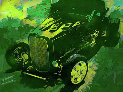 Digital Art - 1932 Ford Roadster Hot Rod Pop Green by David King