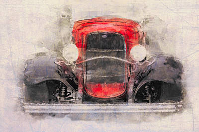 Digital Art - 1932 Ford Roadster Red And Black by Eduardo Tavares