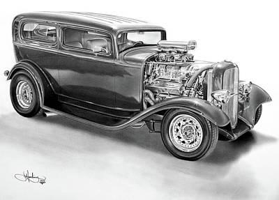 1932 Ford Tudor Drawing Art Print