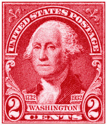 American Revolution Painting - 1932 George Washington Stamp by Historic Image