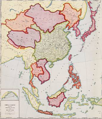 1932 Map Of East Asia, Showing Nations Print by Everett