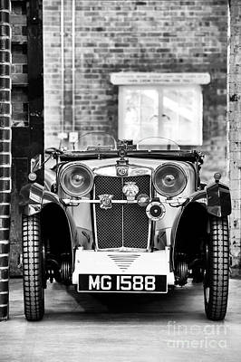 Automobile Hood Photograph - 1932 Mg Monochrome by Tim Gainey
