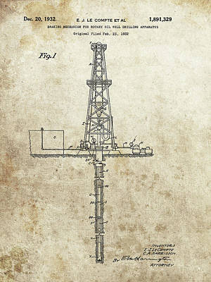 Drawing - 1932 Oil Well Patent by Dan Sproul