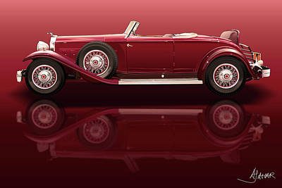 Depression Digital Art - 1932 Packard 904 Roadster by Alain Jamar