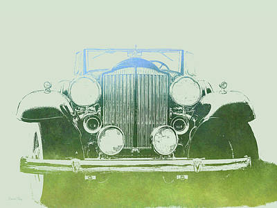 Digital Art - 1932 Packard Pop Art Green Gradient by David King