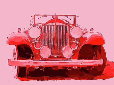 Digital Art - 1932 Packard Pop Art Red by David King