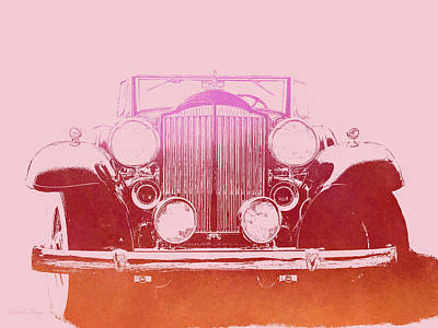 Digital Art - 1932 Packard Pop Art Red Gradient by David King