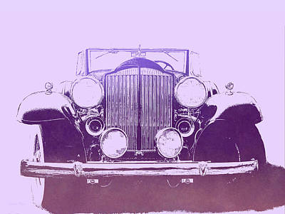 Digital Art - 1932 Packard Pop Art Violet Gradient by David King