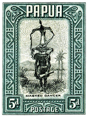 Painting - 1932 Papua Masked Dancer Stamp by Historic Image