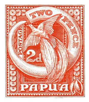 Guinea Wall Art - Digital Art - 1932 Papua New Guinea Bird Of Paradise Postage Stamp by Retro Graphics