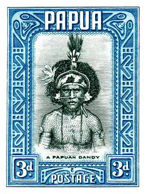 Guinea Wall Art - Digital Art -  1932 Papua New Guinea Native Dandy Postage Stamp by Retro Graphics