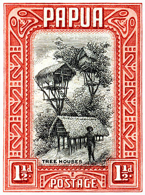Painting - 1932 Papua Tree Houses Stamp by Historic Image
