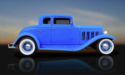 Photograph - 1932 Pontiac 5 Window Coupe  -  1932pontiac5wincpereflect183891 by Frank J Benz