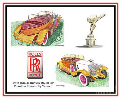 Painting - 1932 Rolls Royce Phantom II Skiff Poster by Jack Pumphrey