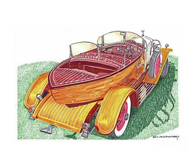 Painting -  Rolls Royce Phantom Skiff Tourer by Jack Pumphrey