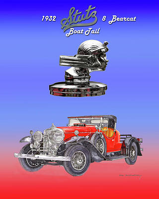 Mixed Media - 1932 Stutz 8 Bearcat Boattail Poster by Jack Pumphrey