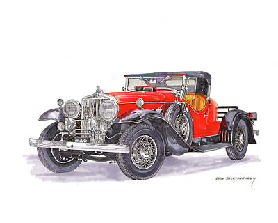 Painting - 1932 Stutz 8 Bearcat Boattail Speedster by Jack Pumphrey