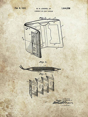 Drawing - 1932 Wallet Patent by Dan Sproul