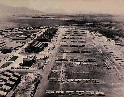 Photograph - 1933 Aerial View Of March Field Ca Base Inspection by US Signal Corps