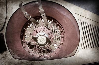 Photograph - 1933 Auburn 12-161a Custom Speedster Spare Tire Emblem -0687ac by Jill Reger