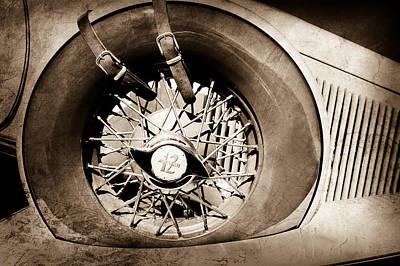 Photograph - 1933 Auburn 12-161a Custom Speedster Spare Tire Emblem -0687s by Jill Reger