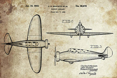 Drawing - 1933 Boeing Pursuit Airplane by Dan Sproul