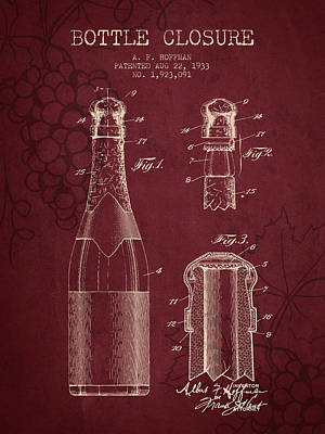 1933 Bottle Closure Patent - Red Wine Art Print by Aged Pixel