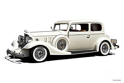 Automotive Art Series Wall Art - Photograph - 1933 Buick Series 86 Victoria 'white Studio' I by Dave Koontz