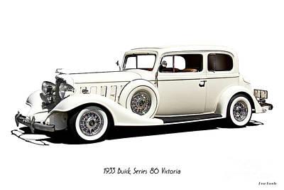 Automotive Art Series Wall Art - Photograph - 1933 Buick Series 86 Victoria 'white Studio' II by Dave Koontz