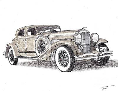 Veteran Drawing - 1933 Duesenberg Sj by Dan Poll