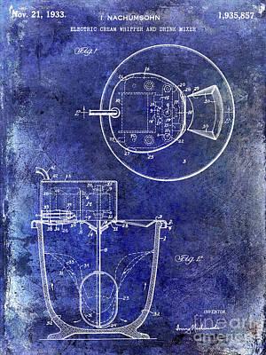 Beaters Photograph - 1933 Electric Cream Whipper Patent Blue by Jon Neidert