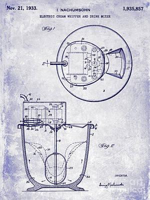 Hobart Photograph - 1933 Electric Cream Whipper Patent Blueprint by Jon Neidert