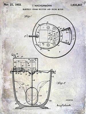 Beaters Photograph - 1933 Electric Cream Whipper Patent by Jon Neidert