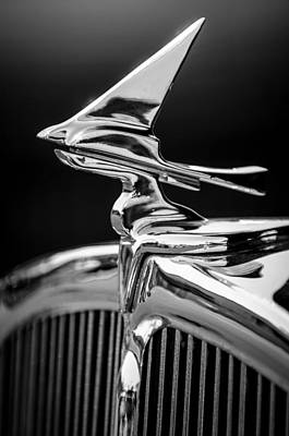 Photograph - 1933 Franklin Olympic Hood Ornament -030bw by Jill Reger