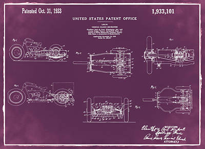 Digital Art - 1933 Indian Motor Tricycle Patent Red by Bill Cannon
