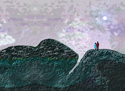 Under The Moon Wall Art - Digital Art - 2468 Under The Full Moon A by Irmgard Schoendorf Welch