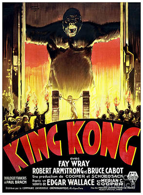 King Kong Photograph - 1933 King Kong French  Movie Poster by Jon Neidert