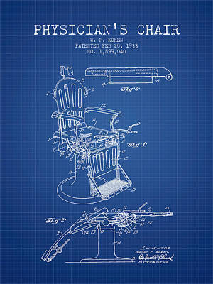 1933 Physicians Chair Patent - Blueprint Art Print by Aged Pixel