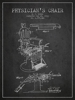 Chair Drawing - 1933 Physicians Chair Patent - Charcoal by Aged Pixel