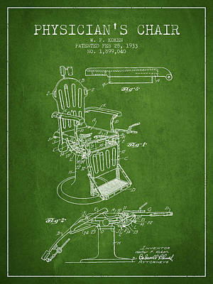 Chair Drawing - 1933 Physicians Chair Patent - Green by Aged Pixel