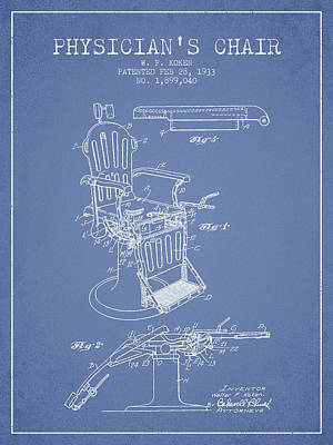 Chair Drawing - 1933 Physicians Chair Patent - Light Blue by Aged Pixel