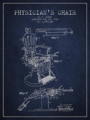 Chair Drawing - 1933 Physicians Chair Patent - Navy Blue by Aged Pixel