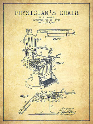 Chair Drawing - 1933 Physicians Chair Patent - Vintage by Aged Pixel